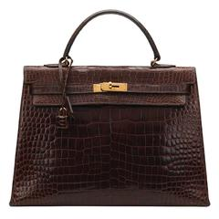 1974 Brown Crocodile Leather Vintage Kelly Sellier 35cm