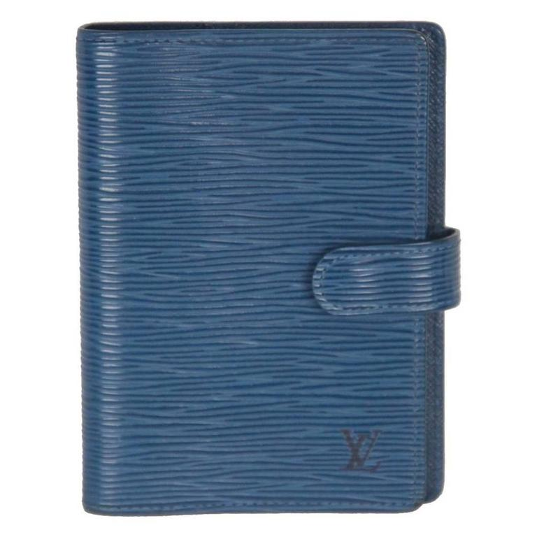 LOUIS VUITTON Blue EPI Leather SMALL 6 RING AGENDA COVER
