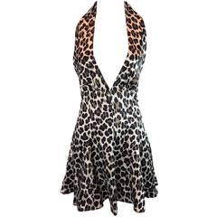 S/S 1995 Documented Dolce & Gabbana Runway Plunging Silk Leopard Mini Dress