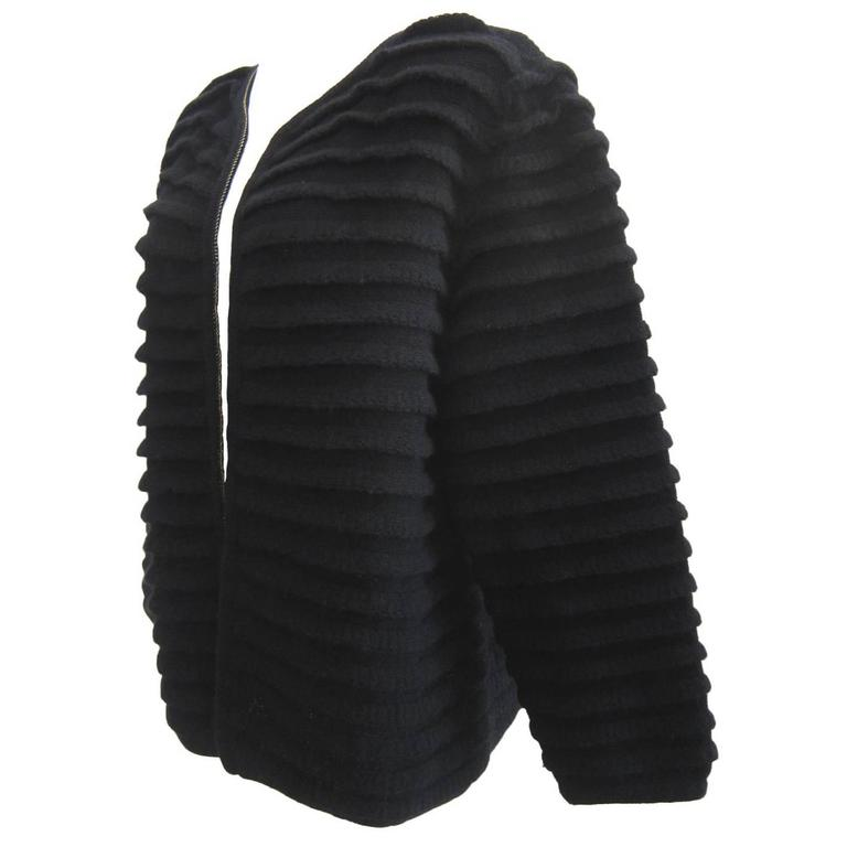 Issey Miyake Black Pleated Cardigan Jacket 1980s