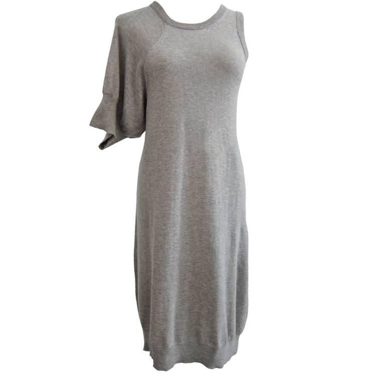 Yohji Yamamoto Light Grey Tank Dress Asymmetrical 1