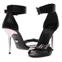 VERSACE black leather sandals with metallic stiletto heel