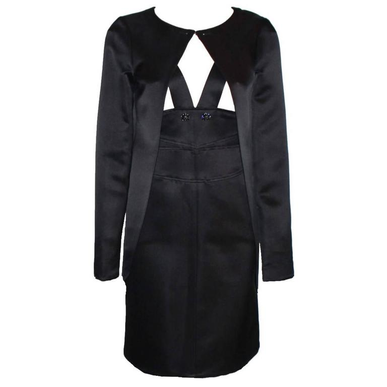 Gorgeous Chanel Black Silk Dress and Coat Suit Ensemble
