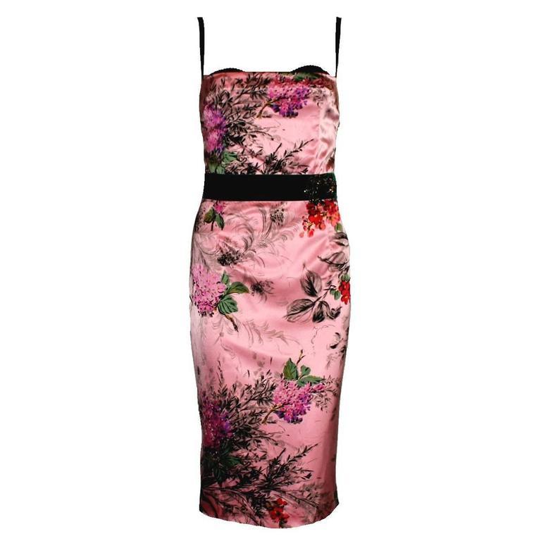 Amazing Dolce Gabbana Floral Silk & Velvet Corset Dress with Brooch