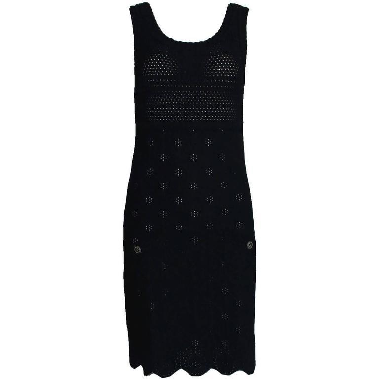 Chanel 3D Crochet Knit Black Dress LBD  For Sale