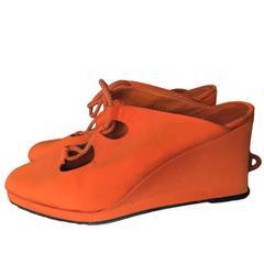 Biba Vintage Platform shoes Orange UK 7 EU 40