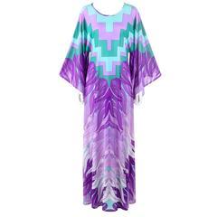 GOTTEX c.1970's Geometric Botanical Print Beach Caftan Chiffon Kimono Dress