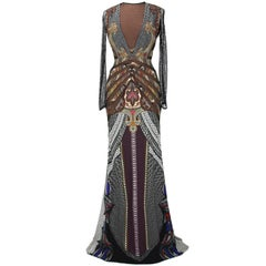 New $5780 ETRO Runway Printed Stretch Dress Gown with Mesh Details It 42 - US 6