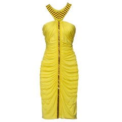 New VERSACE Beaded Cocktail Stretch Yellow Ruched Dress 44 - US 8