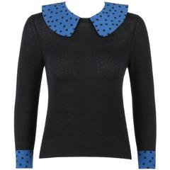 LOUIS VUITTON S/S 2005 Black & Blue Polkadot Cashmere Silk Button Back Sweater