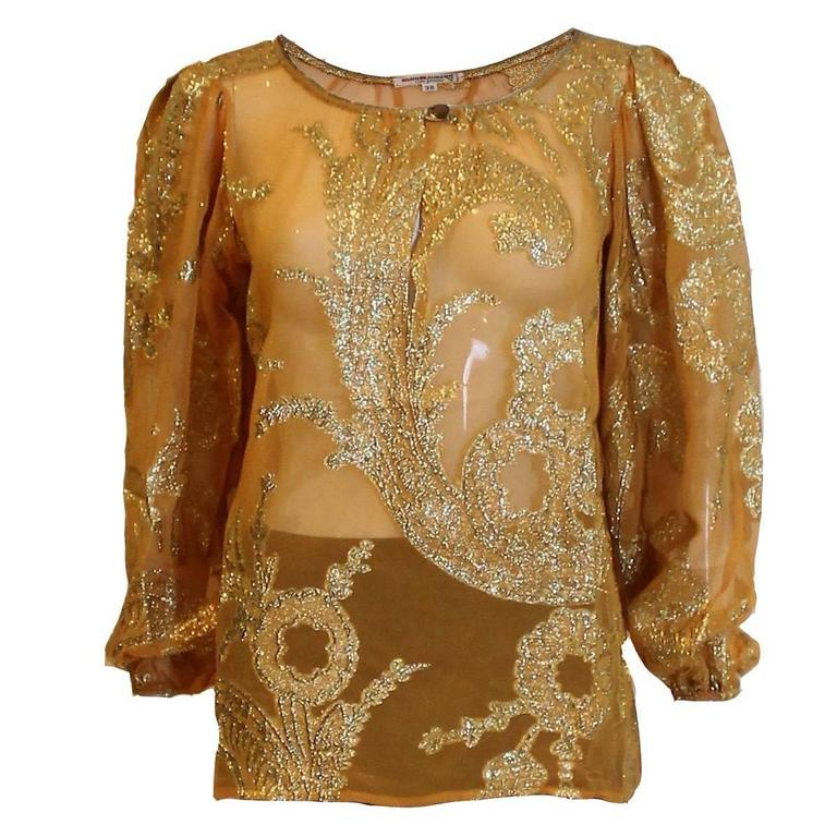 Yves Saint Laurent Rive Gauche Apricot Silk and Gold Evening Top