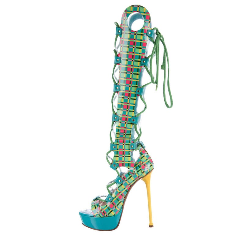 New Versace  Lace-up Gladiator Leather Platform Boots Sandals It. 38.5 - US 8.5 For Sale