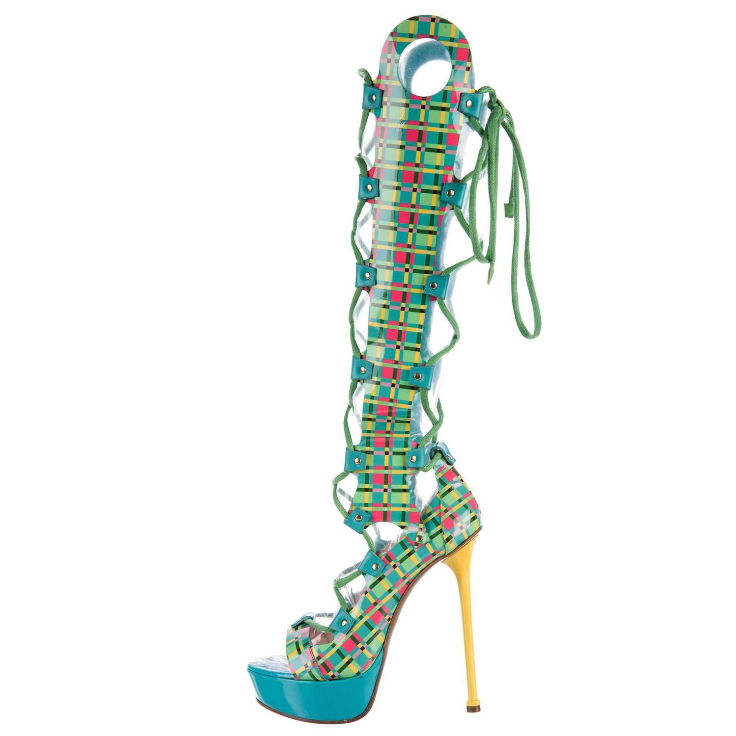 df2d308ce939 New Versace Lace-up Gladiator Leather Platform Boots Sandals It. 38.5 - US  8.5