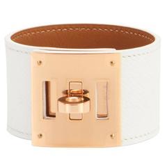 Hermes White Epsom Kelly Dog Leather Cuff Bracelet with Gold Hardware