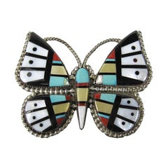 Stunning Zuni inlaid Brooch Pin Pendant Coral Turquoise Onyx 1960s