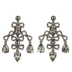 Oscar de la Renta NEW Swarovski Crystal Chandelier Dangle Drop Evening Earrings