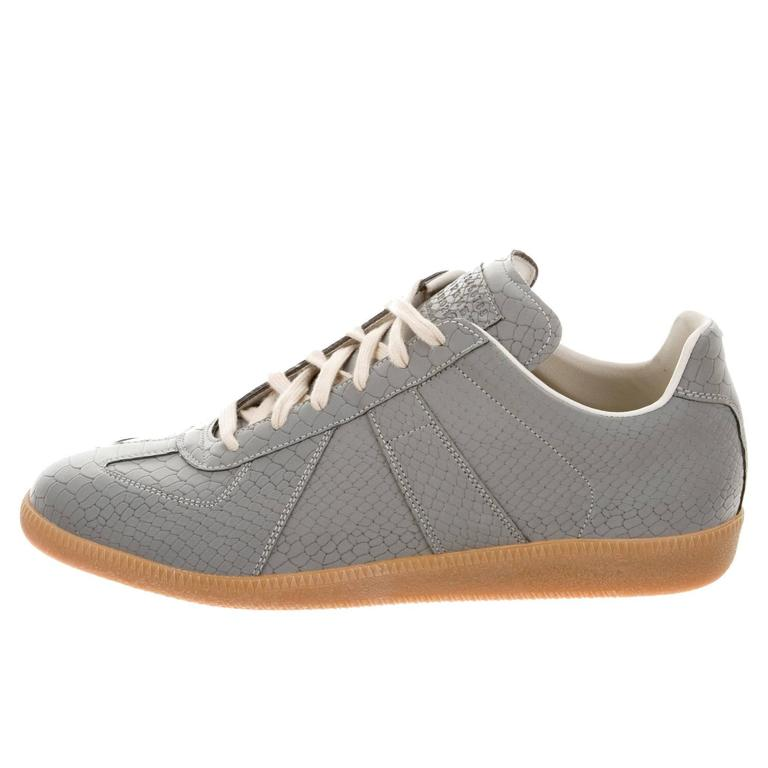 maison martin margiela new men 39 s gray leather low tops sneakers shoes in box at 1stdibs. Black Bedroom Furniture Sets. Home Design Ideas