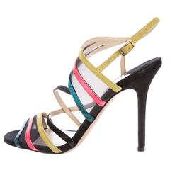 Jimmy Choo NEW Multi Color Mesh Suede Evening Sandals Heels Shoes