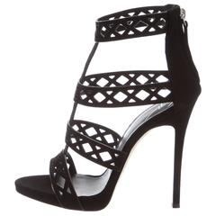 Giuseppe Zanotti NEW Black Cut Out Evening Sandals Heels Shoes in Box