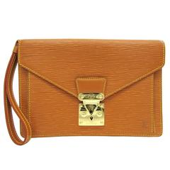Louis Vuitton Cognac Epi Gold Envelope Wristlet Evening Flap Clutch Bag