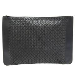 Bottega Veneta Black Leather Men's Women's Business iPad Carryall Travel Bag