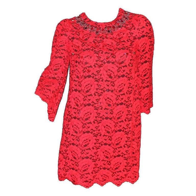 Stunning Dolce & Gabbana Crystal Embellished Red Lace & Silk Dress