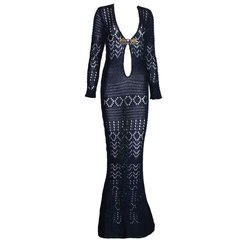 Breathtaking Midnight Blue Emilio Pucci Crochet Knit Evening Gown Dress