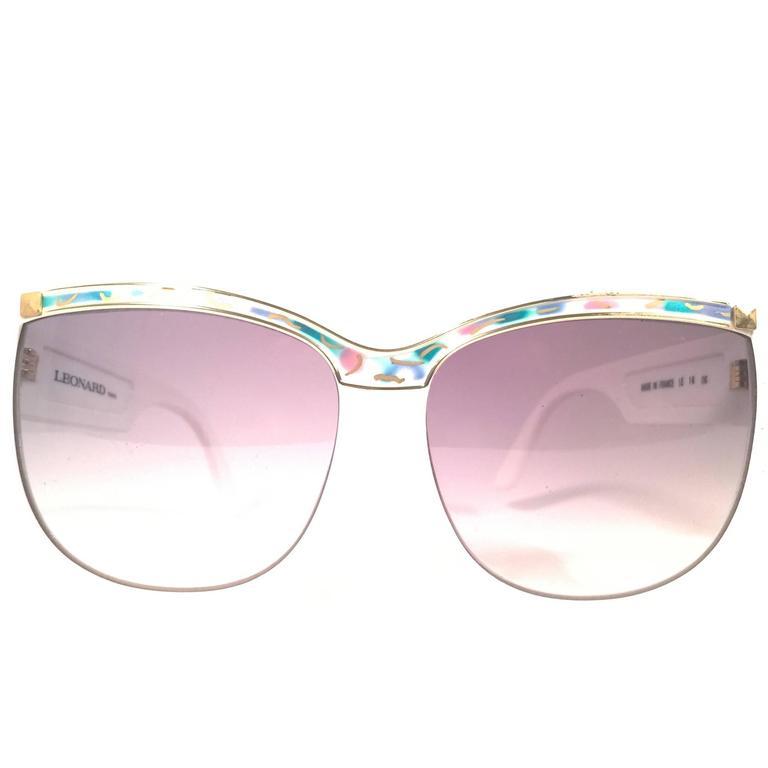 New Vintage Leonard LE1406 White Mosaic 1970's France Sunglasses