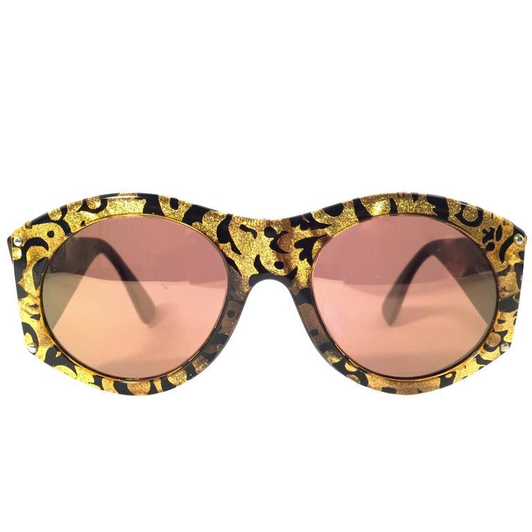 New Vintage Christian Lacroix Black & Gold Baroque 1980 France Sunglasses 1