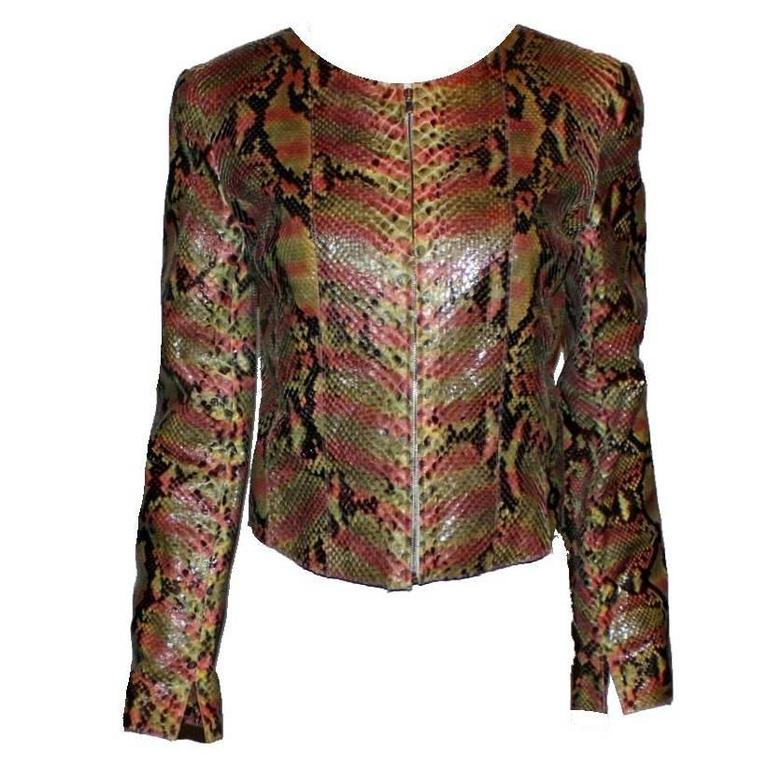 Gorgeous Chanel Exotic Python Skin Leather Jacket For Sale ...