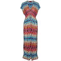 Missoni Multicolor Crochet Knit Maxi Dress Kaftan