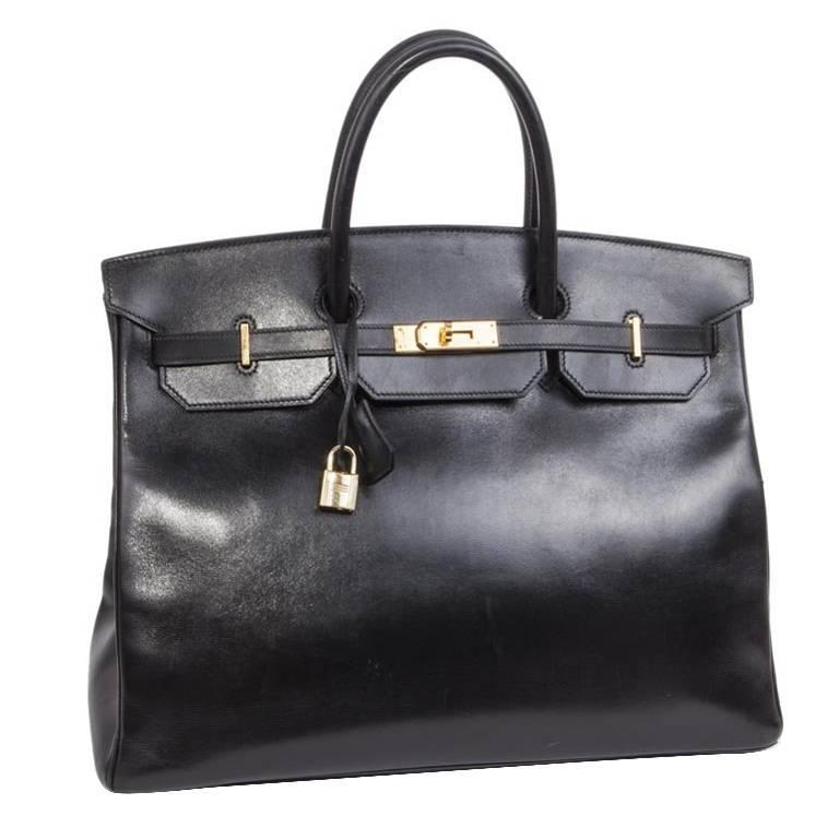 Hermès 40cm Birkin Black Box Leather