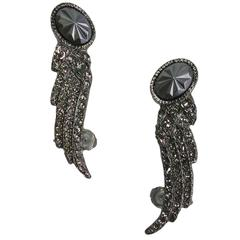CHANEL Wings Earclips in Aged Silver Metal and Rhinestones