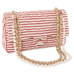 CHANEL Timeless Flap Shoulder Bag in Fabric, Tricolor Lace and Pearls Chain