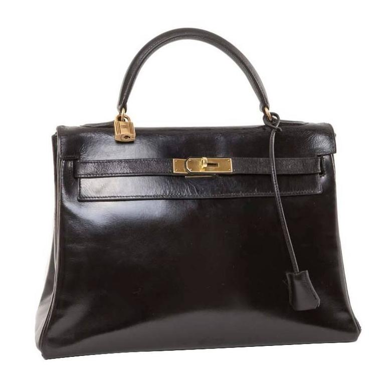 HERMES Vintage Kelly 32 Black Box Leather Bag