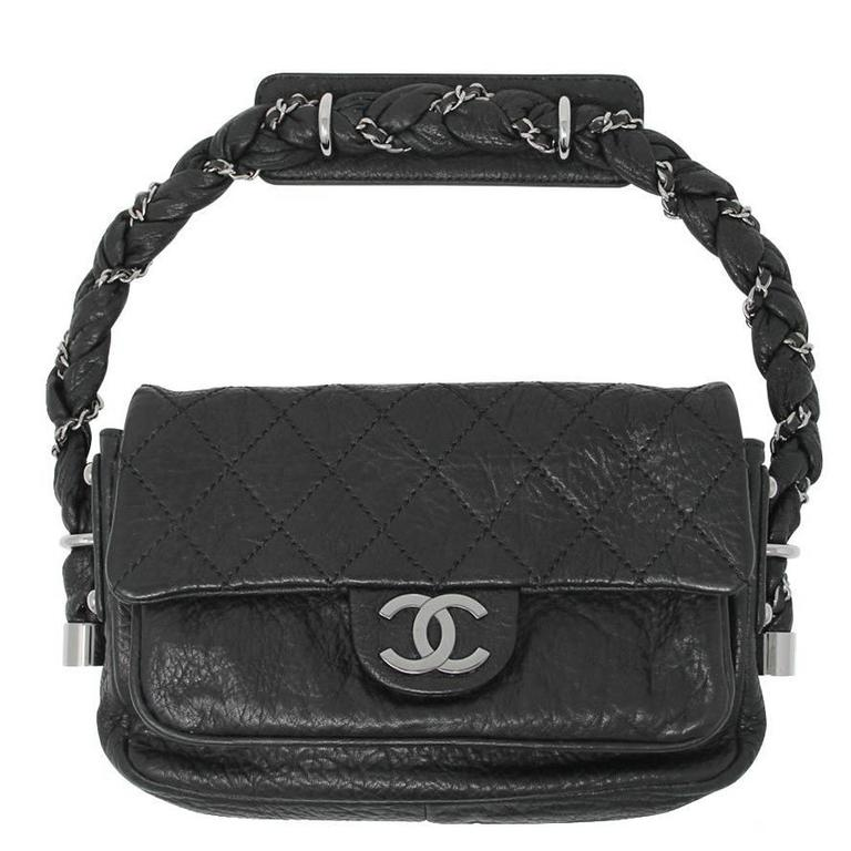 23172157f412a8 Chanel Distressed Leather Quilted Flap Lady Braid Handle Handbag For Sale
