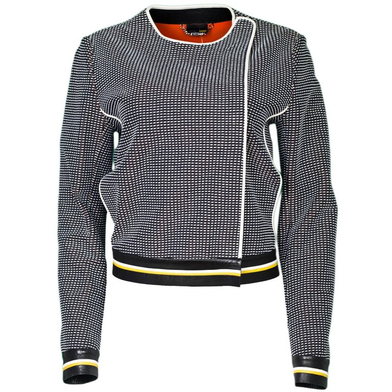 Fendi Navy Black & White Knit Jacket w/ Leather Trim sz IT42 1