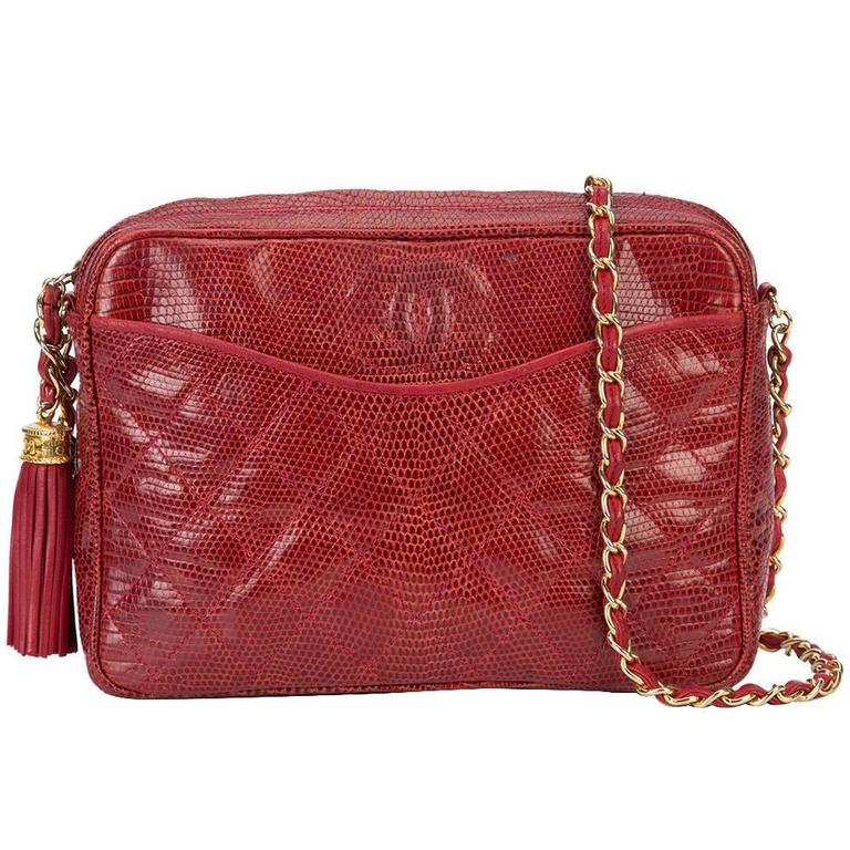 Chanel Red Lizard Leather Tassel Evening Camera Shoulder Bag