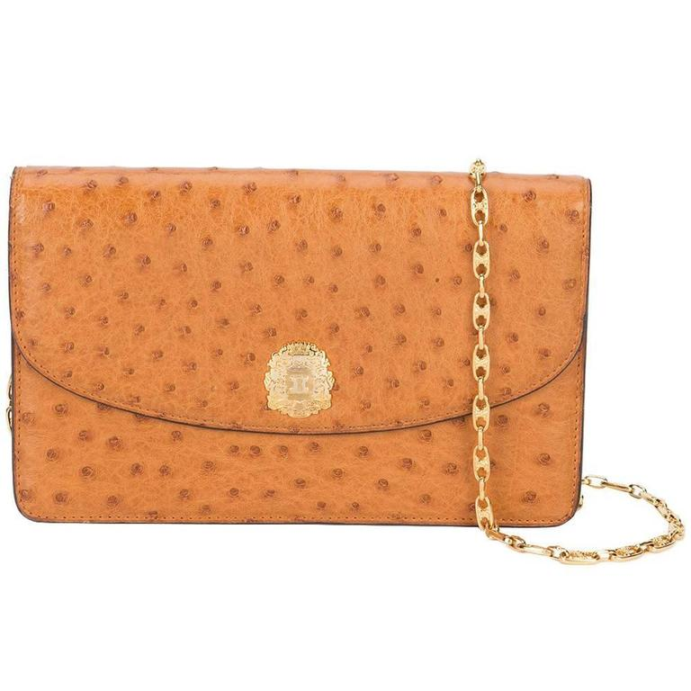 285177f50a Celine Vintage Cognac Ostrich 2 in 1 Evening Clutch Chain Shoulder Flap Bag  For Sale at 1stdibs