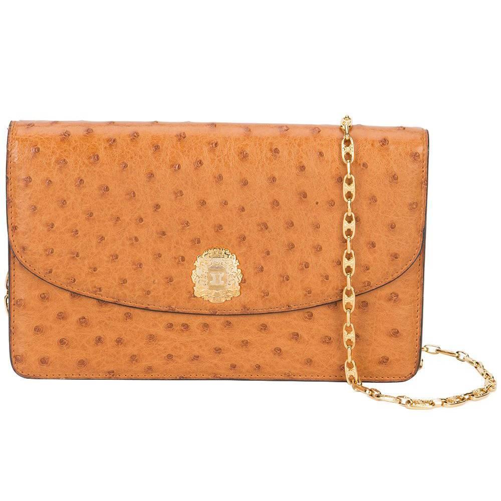 Celine Vintage Cognac Ostrich 2 in 1 Evening Clutch Chain Shoulder Flap Bag 69a2dfd95a406