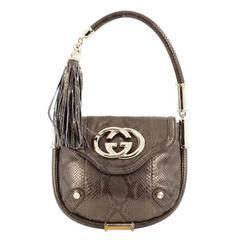 Gucci Britt Tassel Flap Bag Python Small