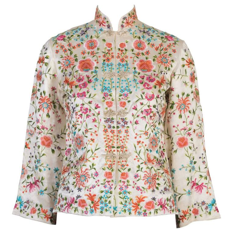 Floral Embroidery Oriental Jacket