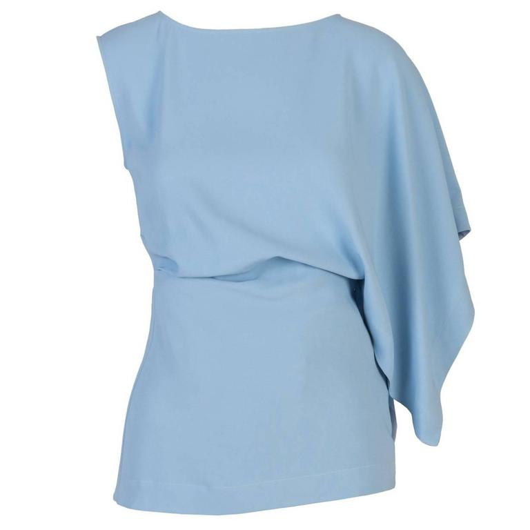 Vionnet Baby Blue Asymetrical One Sleeve Top