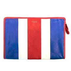 Balenciaga Red, White and Blue Clutch Bag