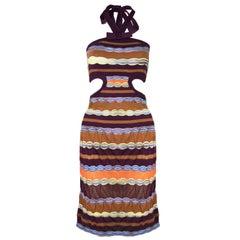 M Missoni Multi-Colored Knit Halter Neck Cut Out Dress