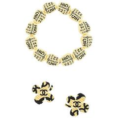 Chanel Clover Iconic earrings and bracelet set 2002