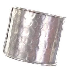 Pauline Trigere Signed Vintage Cuff Hinged Bracelet Hammered 1970s