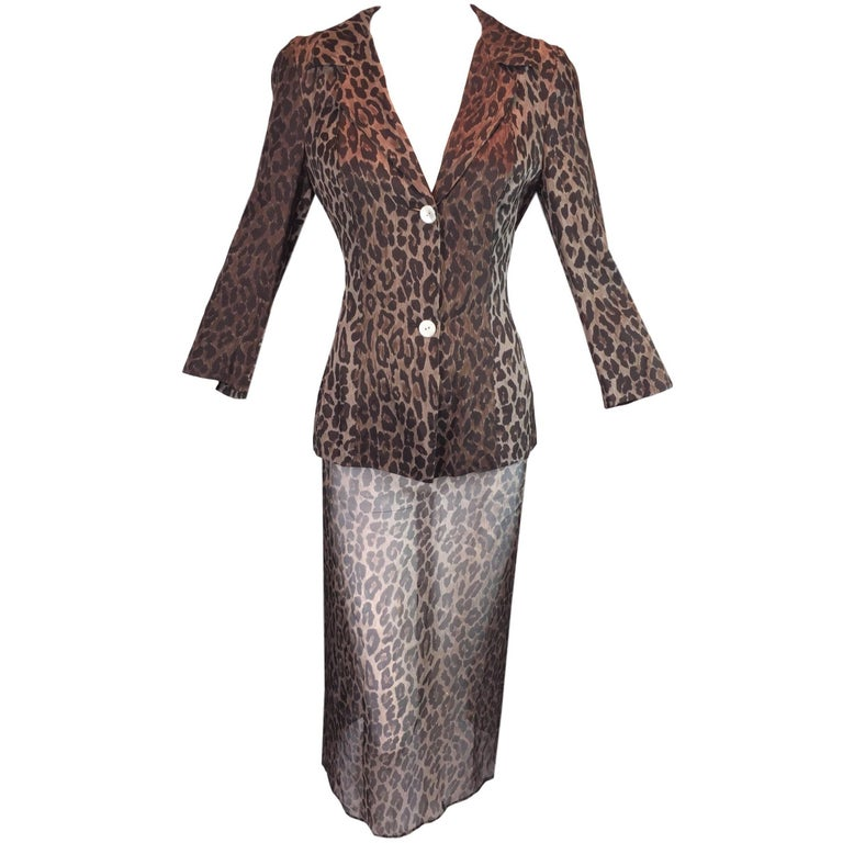 S/S 1997 Dolce & Gabbana Runway Leopard Silk Sheer Skirt Jacket Suit
