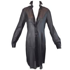 S/S 2000 Dolce & Gabbana Sheer Black Button Down Tunic Dress Blouse
