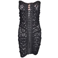 S/S 2000 D&G Dolce & Gabbana Black Lace Mesh Corset Strapless Mini Dress